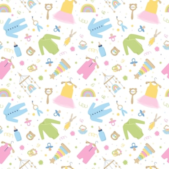 Cute seamless pattern with baby care items. cloth, toys, accessories. nursery collection with dress, body suit, rattle. background for baby shower. cartoon vector illustration isolated on white.
