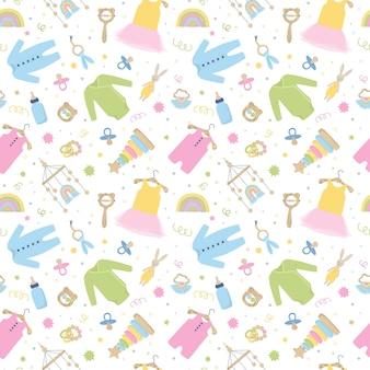 베이비 케어 항목과 귀여운 완벽 한 패턴입니다. 천, 장난감, 액세서리. 드레스, 바디 슈트, 딸랑이가 있는 보육 컬렉션. 베이비 샤워에 대 한 배경입니다. 만화 벡터 일러스트 레이 션 흰색 절연입니다.