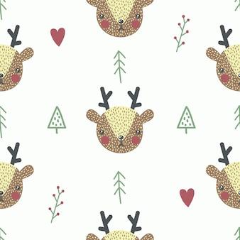 赤ちゃん鹿とかわいいシームレスパターン。クリエイティブな子供っぽいプリント。生地、テキスタイルに最適です。