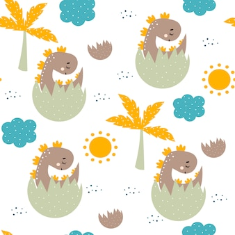 Cute seamless pattern with baby dinosaur