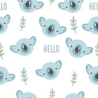 赤ちゃんコアラとレタリングhelloのかわいいシームレスパターン。クリエイティブな子供っぽいプリント。