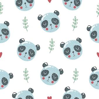 赤ちゃんパンダとかわいいシームレスパターン。クリエイティブな子供っぽいプリント。ファブリック、テキスタイルに最適です。