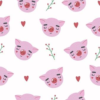 子豚とのかわいいシームレスパターン。創造的な幼稚なプリント。ファブリック、テキスタイル用のクリート。