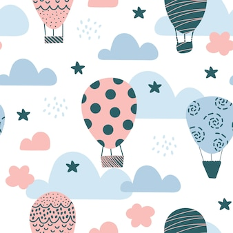 Cute seamless pattern with balloons, scandinavian style on a white background.