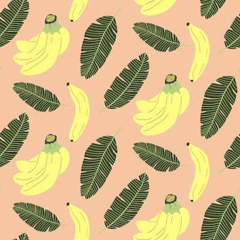 Cute seamless pattern with banana and tropical leaves.