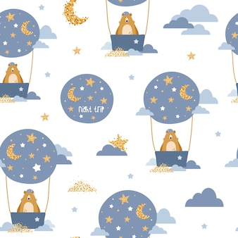 Cute seamless pattern with bears on air balloons