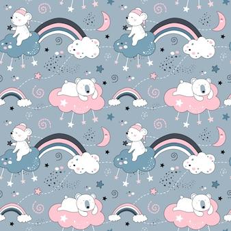 クマと虹のかわいいシームレスパターン