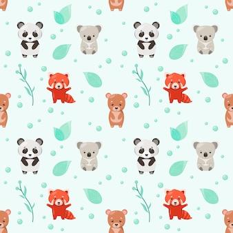 곰과 함께 귀여운 완벽 한 패턴입니다. 만화 스타일의 동물에 대한 어린이 그림.