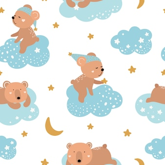 Cute seamless pattern with bears on the clouds