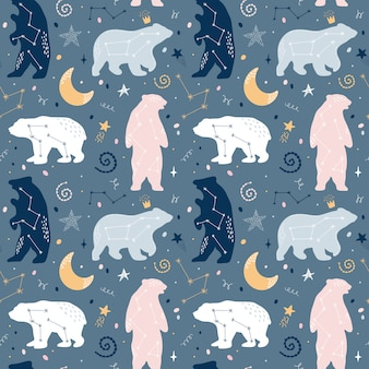 Cute seamless pattern with bears constellations on the sky