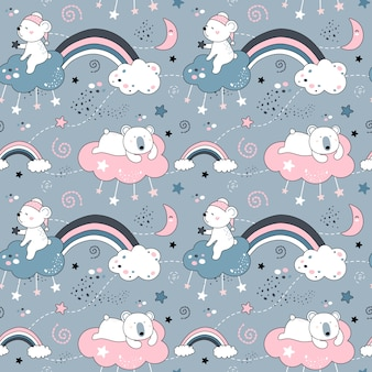 Cute seamless pattern with bears and rainbows