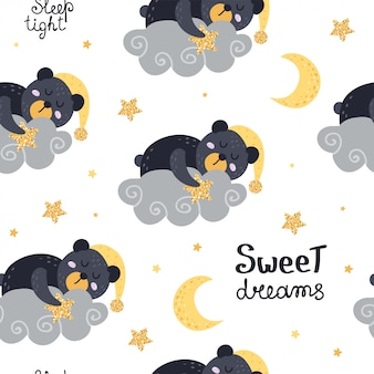Cute seamless pattern with bears