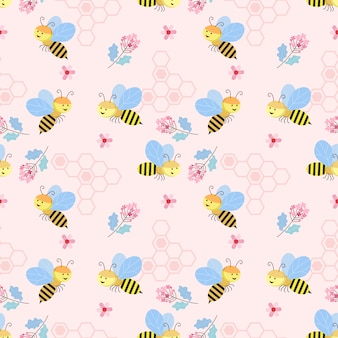 Cute seamless pattern with bee and flowers background texture wallpaper.
