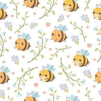 Милый бесшовный фон с пчелами и цветами