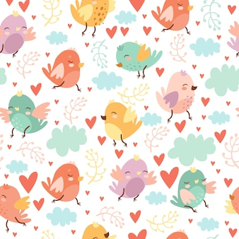 Милый бесшовный узор с птицами