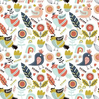 새와 함께 귀여운 완벽 한 패턴