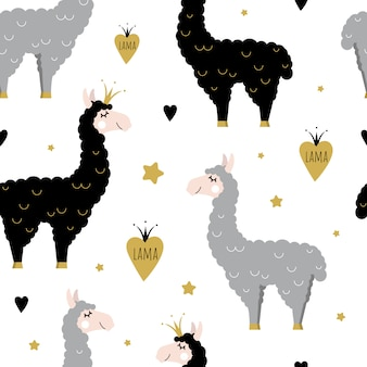 Cute seamless pattern with black and gray llamas.