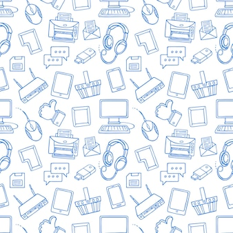 Cute seamless pattern with blue computer elements on white