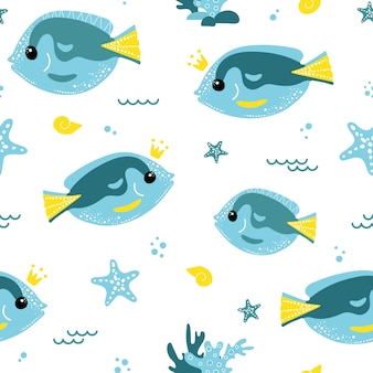 Cute seamless pattern with blue fishes.