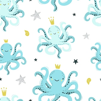 Cute seamless pattern with blue octopuses