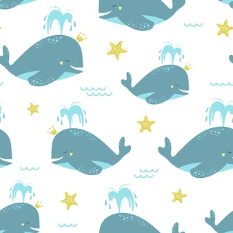 Cute seamless pattern with blue whales and starfish.