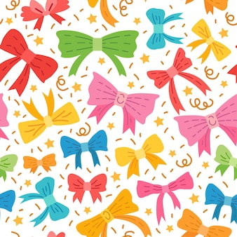 Cute seamless pattern with bows vector illustration