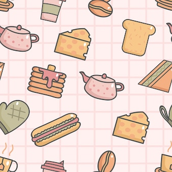 Cute seamless pattern with breakfast