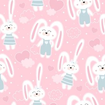 토끼와 귀여운 원활한 패턴