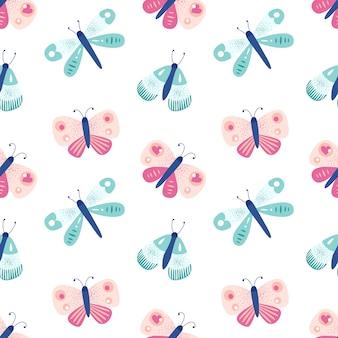 蝶とかわいいのシームレスなパターン。虫のいる美しいプリント