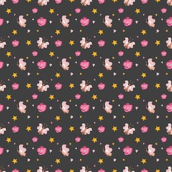 蝶の花と星とかわいいシームレスパターン