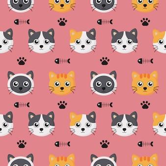 漫画の赤ちゃん猫と子供のための足跡のかわいいシームレスパターン。