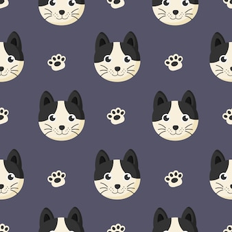 Cute seamless pattern with cartoon baby cat and footprint for kids. animal on purple background.