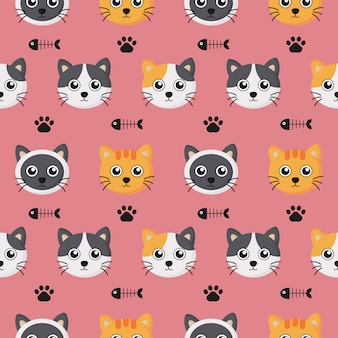 Cute seamless pattern with cartoon baby cat and footprint for kids.