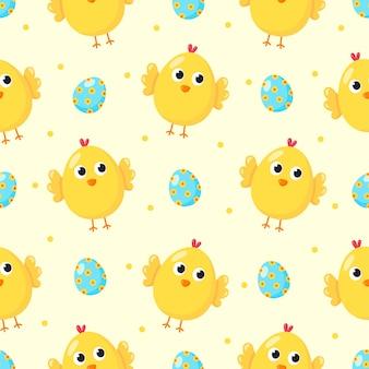 漫画の赤ちゃんの鶏と卵とかわいいシームレスパターン