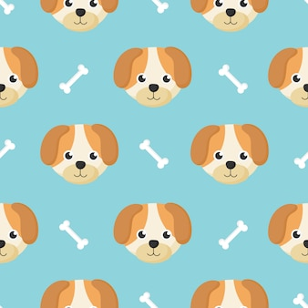 Cute seamless pattern with cartoon baby dog and bone for kids. animal on blue background.