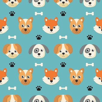 Cute seamless pattern with cartoon baby dog and bone for kids.