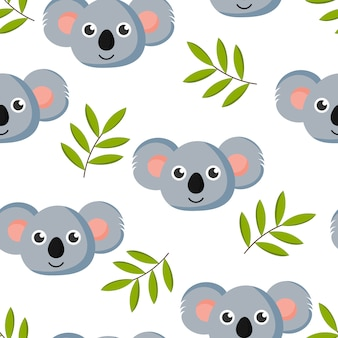 Cute seamless pattern with cartoon baby koala