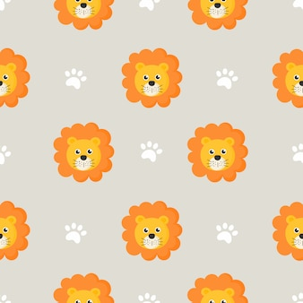 Cute seamless pattern with cartoon baby lions for kids. animal on gray background.