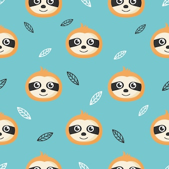 Cute seamless pattern with cartoon baby sloths and leaves for kids. animal on blue background. Premium Vector