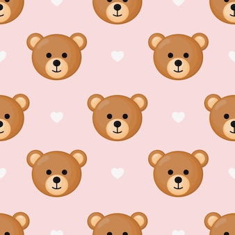 Cute seamless pattern with cartoon baby teddy bears for kids.