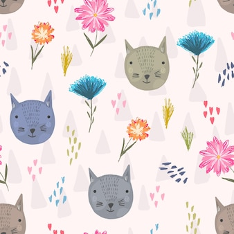 Cute seamless pattern with cartoon colorful cats heads, pink hearts and flowers