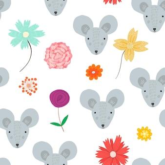Симпатичные бесшовные модели с мультяшными серыми головами мыши