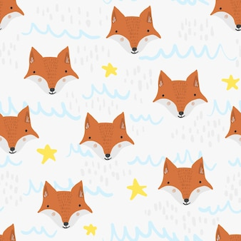 Cute seamless pattern with cartoon orange foxes, stars and waves on white background