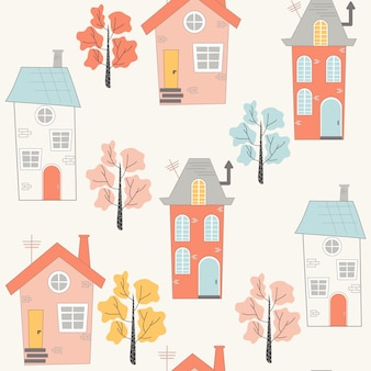 Cute seamless pattern with cartoon style houses
