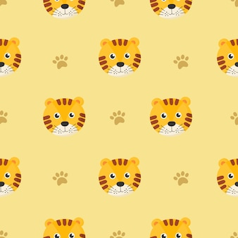 Cute seamless pattern with cartoon tigers for kids. animal on yellow background.
