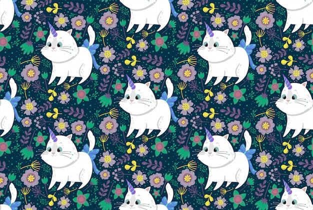 Cute seamless pattern with cat unicorn, plants, and flowers.