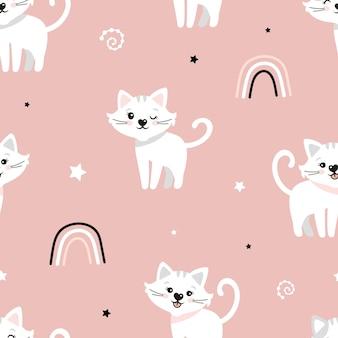 猫とのかわいいシームレスパターン。かわいい猫、レインボー、星。子供のベクトルの背景。はがき、ポスター、衣類、布、包装紙、テキスタイル。