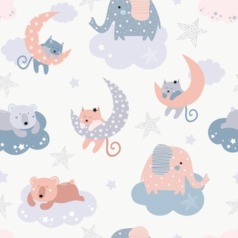 Cute seamless pattern with cats, elephants, bears