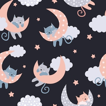Cute seamless pattern with cats on the moon