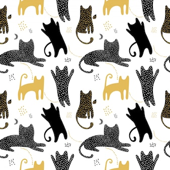 Cute seamless pattern with cats shadows.